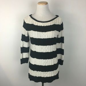 White House Black Market Striped Cableknit Sweater